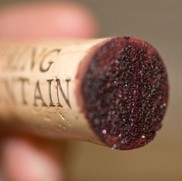 A recently pulled cork showing tartrate on the bottom